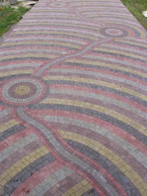 варианты укладки тротуарной плитки римский камень